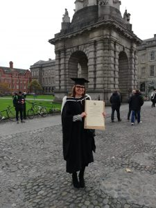 Luiza Dubicka standing in Front Square, TCD