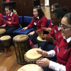 "First Years take part in ""Jabba Jabba Jembe"" percussion workshop in school library (Gallery)"