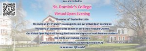 Invitation to virtual open night (video screening) for St Dominic's College Cabra with links